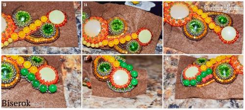 оплетение кабошона, вышивка бисером, зеленый нефрит, желтый нефрит, риволи