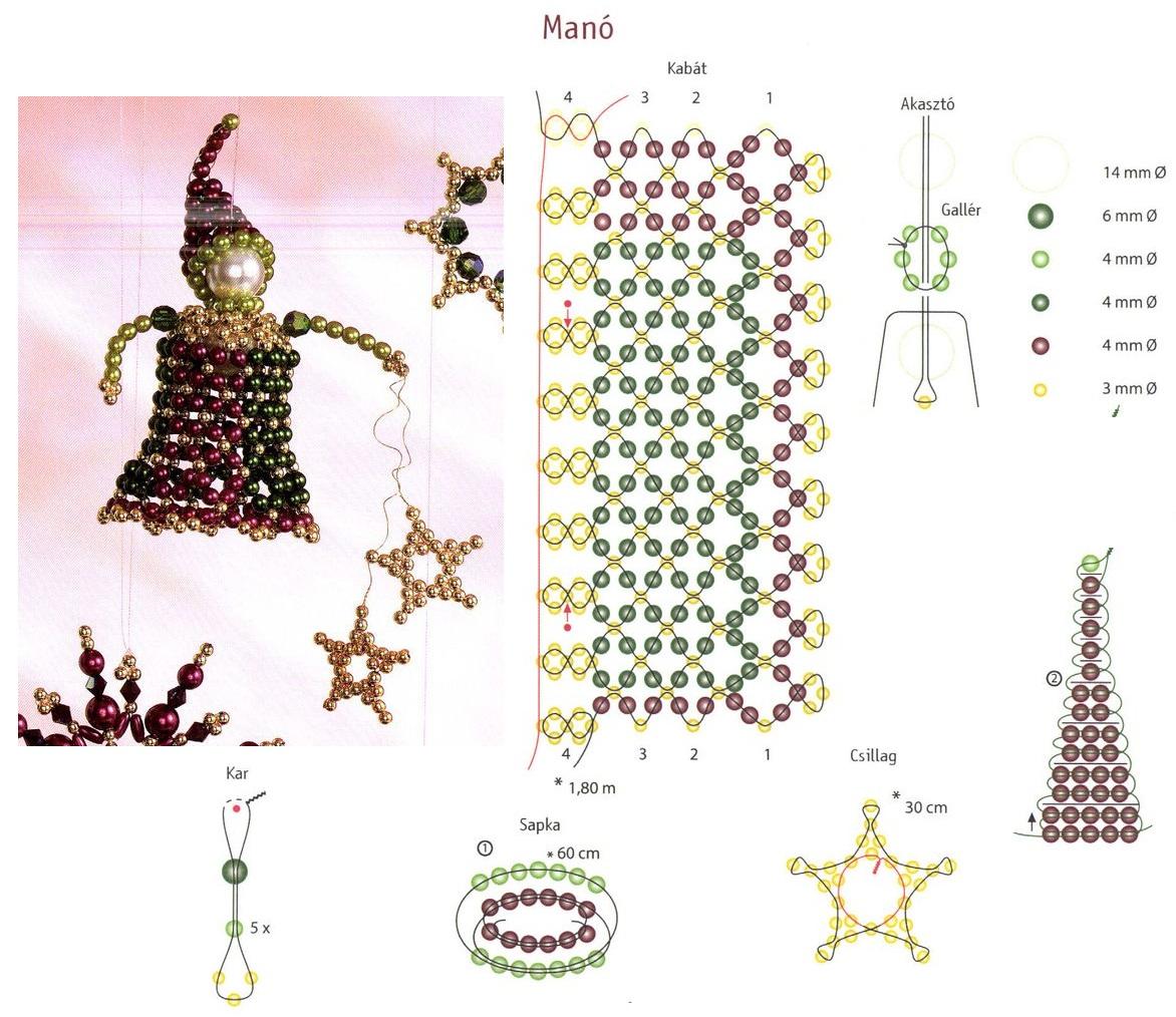 ангел на бусине, из бисера, схема плетения.