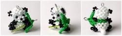 брелок из бисера и бусин панда с бамбуком, схема