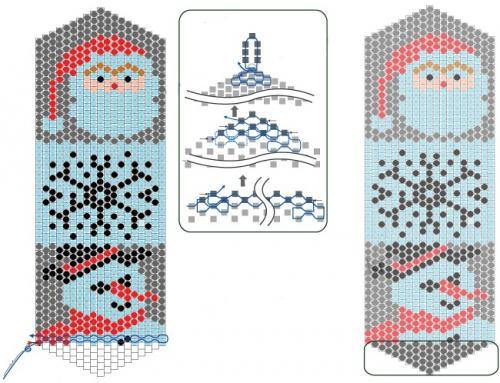 схема закладки из бисера с санта клаусом, сантой, снеговик, снежинка,брелок из бисера схема