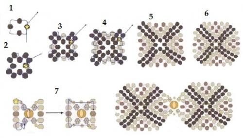 браслет из бисера, квадрат, мозаика, ндбеле, схема