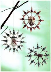 Снежинки из бисера, схема плетения, олень, снеговик, ангел