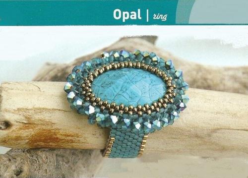 кольцо из бисера, оплетение кабошона мозаикой, схема