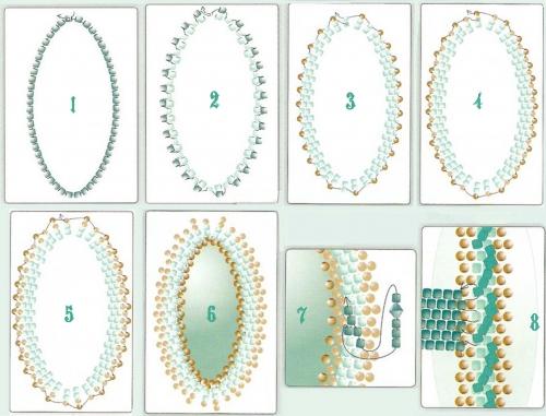 кольцо, сплетенной из бисера и бусин биконусов, биконус, с кабошон оплетенным в технике мозаика, схема