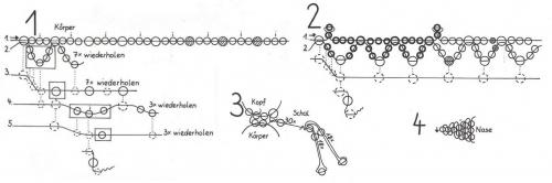 ажурная лошадь из бисера и бусин, схема плетения