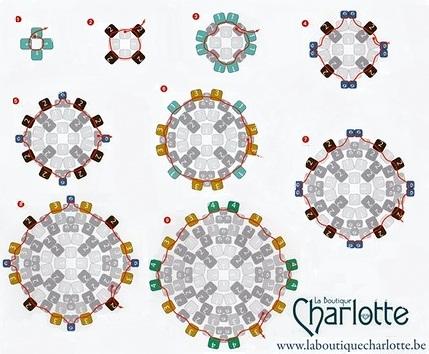 объемный кубик из бисера с узором, мозаичное плетение схема
