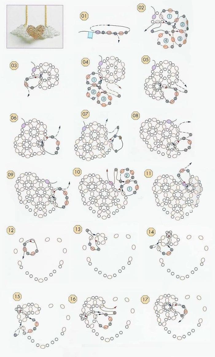 Схема плетения валентинок из бисера с крыльями.