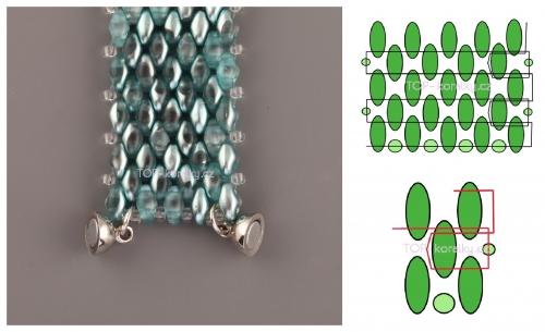 простойплетеный браслет из бисера супердуо, твин, схема