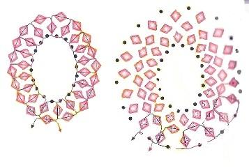 схема оплетения круглой или овальной бусины биконусами