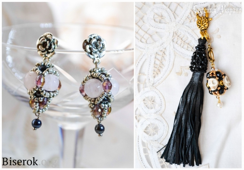брелок из бисера с черепами, серьги из бисера с розовым кварцем, схема плетения трехгранных бусин барокко