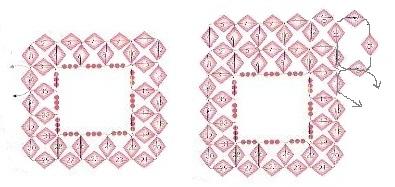 схема оплетения квадратной бусины с широким краем