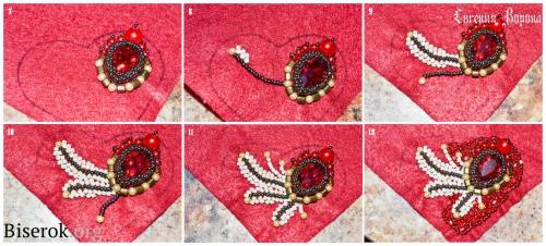 сердце брелок, вышивка бисером, оплетение риволи, перья из бисера, мастер-класс