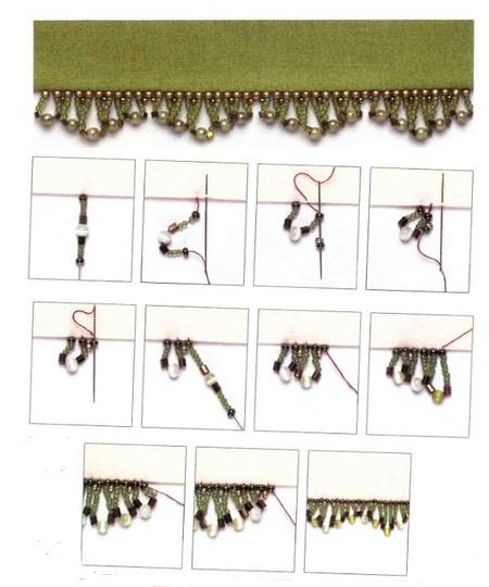 украшения с бисерной бахромой, схема, пошаговые примеры плетения