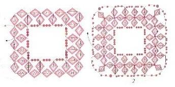 оплетение квадратной бусины монастырским плетением с биконусами, схема