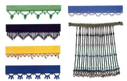 ажурная короткая и длинная бахрома из бисера, бусин и стекляруса, схема