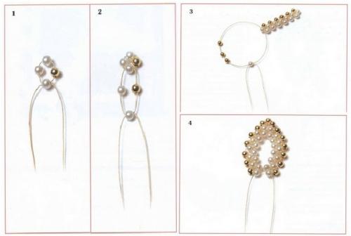 цветок из жемчужных и золотых бусин, схема, шпильки для волос, украшение для прически невест