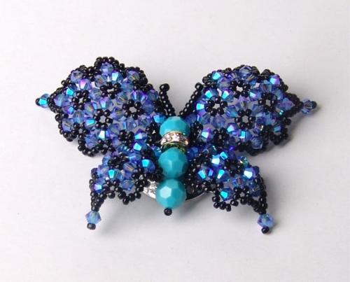 бабочка из бисера и бусин биконусов, простая схема