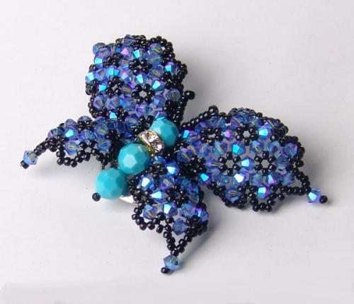 бирюза, синий, голубой, бабочка, бисер, бусины биконус, схема