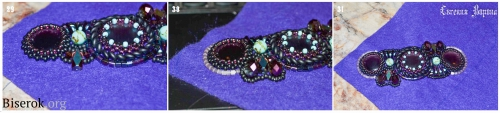 использование крупных бусин разных форм в вышивке украшений.