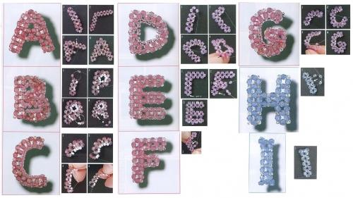 буквы, английский алфавит из бисера и бусин биконус, схема, мастер-класс
