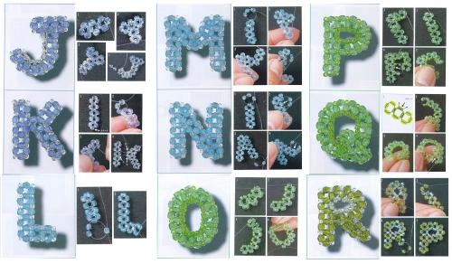 англиские буквы из бисера и бусин, схема