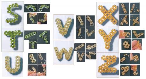 объемные буквы, английский алфавит, бисер, бусины, биконус, биконусы, схема, мастер-класс