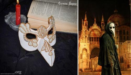 венецианская маска, вышивка бисером, кожа, врачеватель чумы, нос турка  мастер-класс