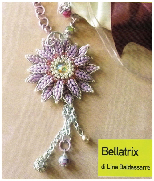 кулон подвеска цветок из бисера и бусин, бисер Твин Супердуо, схема