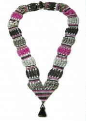 оригинальный яркий полосатый гердан из бисера и бусин, схема, описание, ручное ткачество