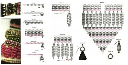 гердан, бисер, ручное ткачество, схема, просто, яркий, в полоску, орнамент