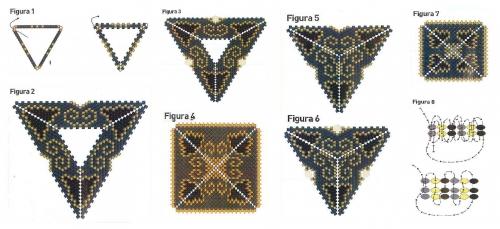 треугольни, сплетенные из бисера в технике мозаичного плетения с кристалом риволи, схема, описание, куло, подвеска, серьги, черный, золотой