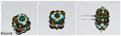 схема плетения четырехгранной бусины барокко из бисера и бусин, бирюза, агата вены дракона, имитация жемчуга, мастер-класс, брелок для сумки