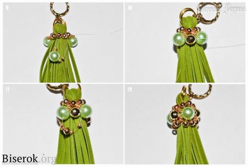 простое плетение бусины Барокко, красивое оформление кисти для серег и брелка, схема, мастер-класс