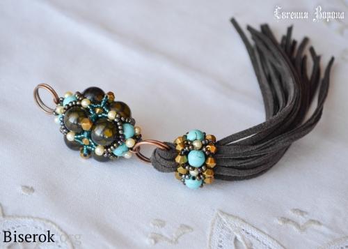 Брелок из бисера и бусин с кистью, схема плетения бусина барокко, бюрюза, агат вены дракона