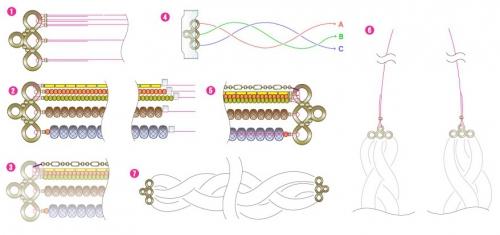 плетеный комплект из бисера и бусин, колье и браслет из бисерной косы, схема сборки