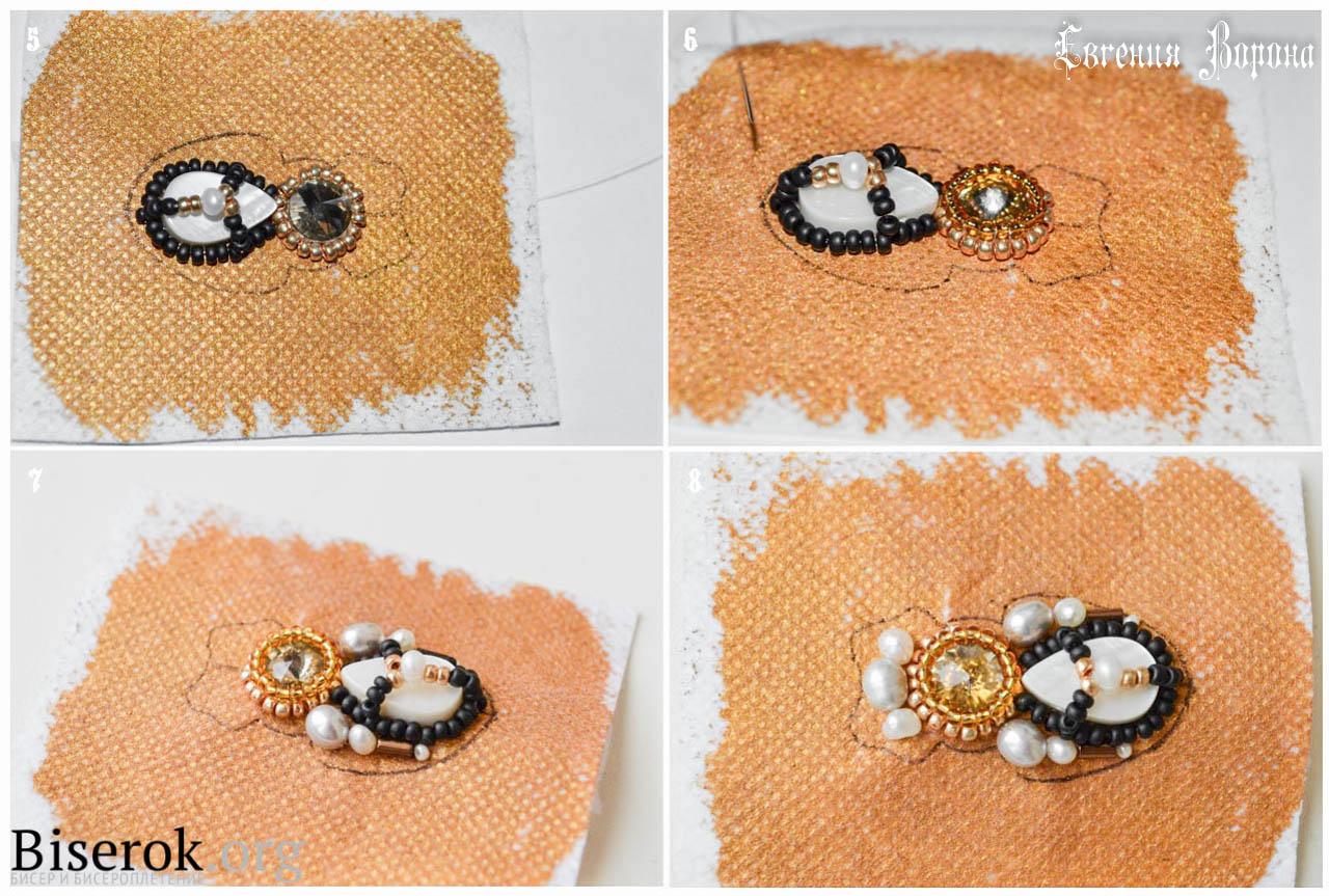 Объемная вышивка бисером брошки