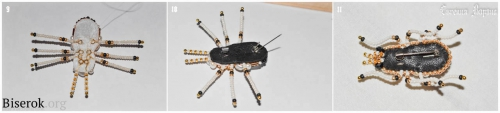 брошь из бисера и жемчуга жук, мастер-класс, вышивка бисером, схема, мк, МК, лапки лапы для жука из бисера