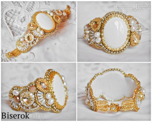 нежный летний браслет, выполненный в бело-золотой гамме, вышивка бисером, кахолонг, оплетение кабошона риволи, веер из стекляруса, стразы на цепи, полотно ндебеле, мастер-класс, мк, МК, схема,