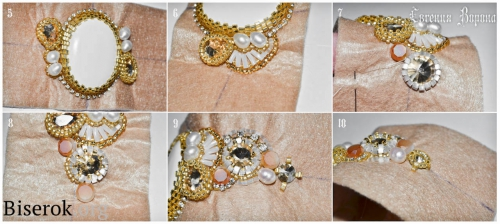 браслет вышивка бисером, оплетение круглой риволи 10 мм 7 мм, мастер-класс, мк, МК, схема