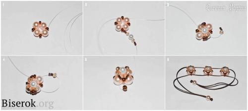 схема плетения браслета из бисера и бусин на шнуре, мастер-класс, мк, МК