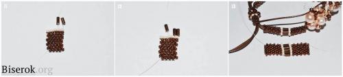 шнур из бисера мозаика в мозаичной технике кирпичным плетением, схема, браслет плетеный из бисера и бусин, на шнуре, мастер-класс, мк, МК, схема