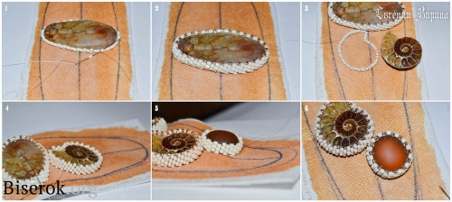 оплетение крупной плоской бусины агаты бисером в мозаичной технике, подробное оплетение кабошона аммонита, оплетение кабошона мозаикой, мастер-класс, мк, МК, схема