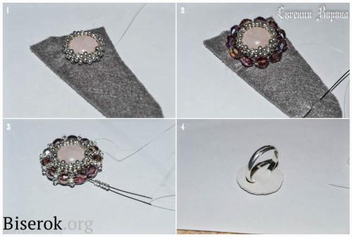 кольцо вышитое бисером с розовым кварцем, оплетение кабошона, крепление основы для кольца, обшивка края, мастер-класс, мк, МК, схема