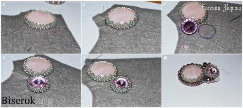 оплетение кабошона мозаикой с уголками, мастер-класс, мк, МК, схема, кулон с розовым кварцем вышивка бисером, оплетение кристалла риволи, обшивка края Русским способом