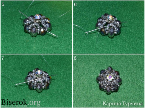 Пошаговая схема плетения сережек из бисера со стразами, понятная, простая