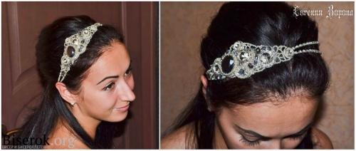 повязка на голову в греческом стиле, вышивка бисером, кристаллы риволи, ажурное плетение, мастер-класс, мк, МК, схема