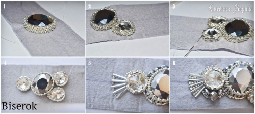 повязка для прически в греческом стиле, вышитая бисером, оплетение плоской бусины, оплетение кристалла риволи, мастер-класс, мк, МК, схема