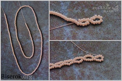 плетение воротничка из бисера, ажурный воротник, простая понятная схема, пошаговые фото с пояснениями