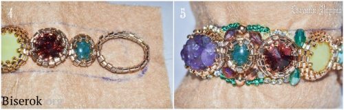 крошка аметиста в бисерной оплетке, браслет на жестком металлическом бланке, вышивка бисером по фетру, мастер-класс, мк, МК