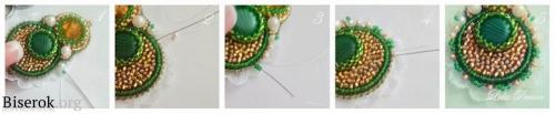 красивые вышитые серьги с малахитом, декорировать край изделия, крепление швензы, оформление работы из бисера, схема, подробный мастер-класс